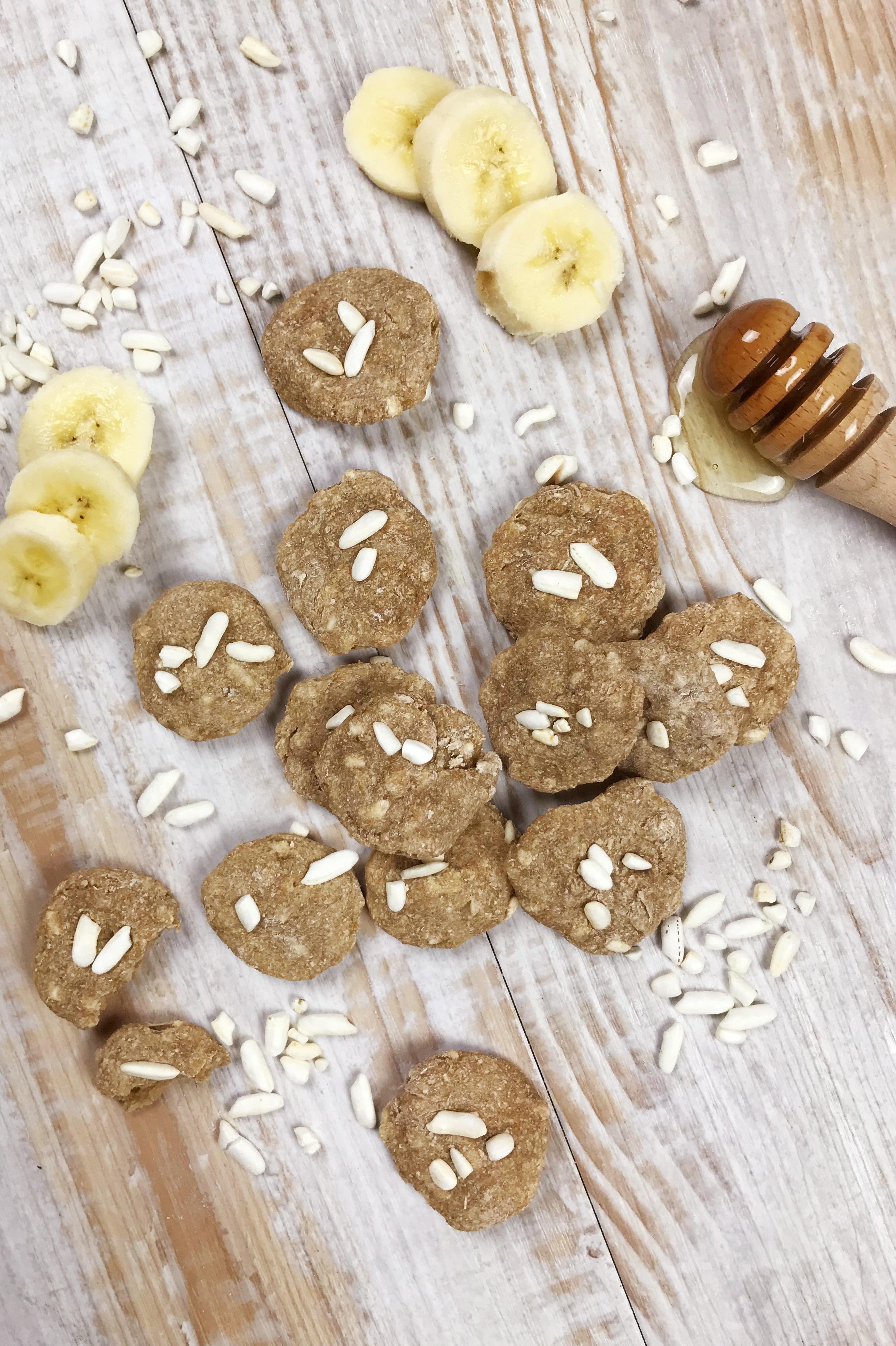 biscotti alla banana, cocco e riso soffiato