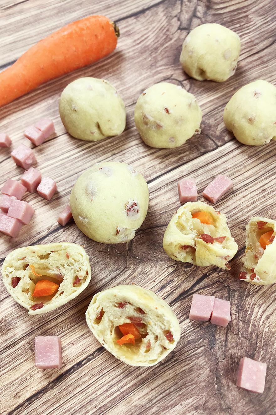 Fagottini con prosciutto e carote